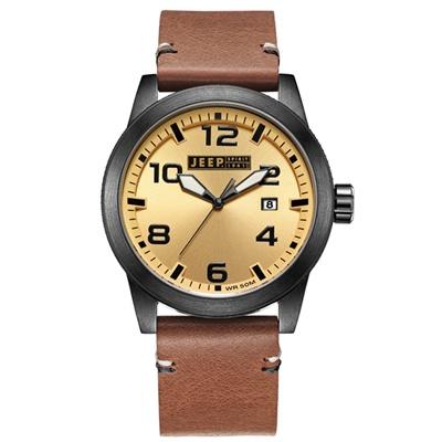 Jeep Spirit 簡約休閒系列時尚手錶-金面/棕色帶-46mm