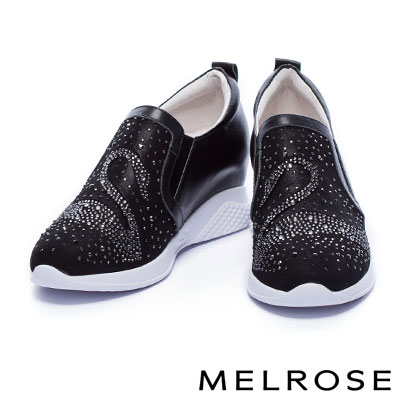 休閒鞋 MELROSE 奢華閃耀全真皮晶鑽天鵝造型內增高休閒鞋-黑