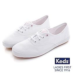 Keds CHAMPION綁帶休閒鞋-白/粉紅