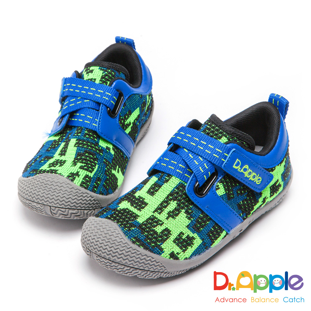 Dr. Apple 機能童鞋 幾何迷彩針織運動鞋-藍
