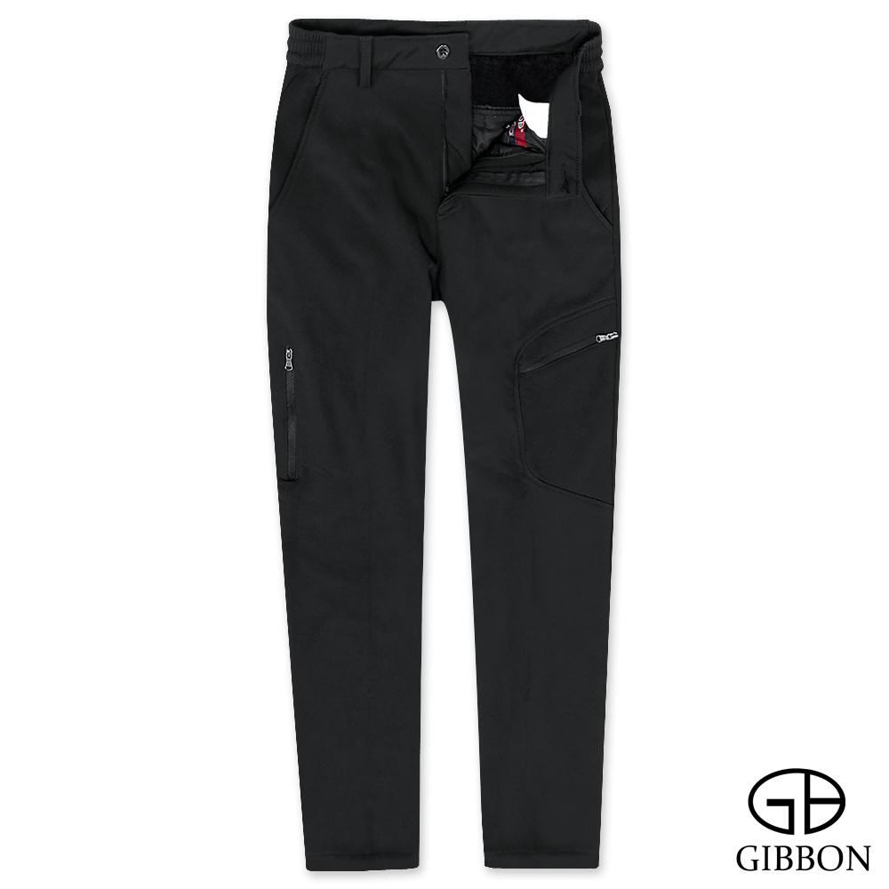 GIBBON 極細刷毛彈力保暖長褲‧黑色M-3XL