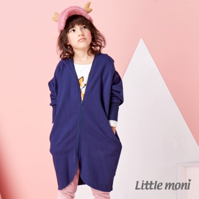 Little moni  OVERSIZE內刷毛寬版長外套 深藍