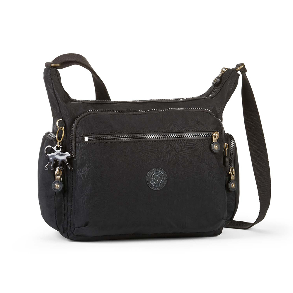 Kipling 質感黑紋理素面側背包