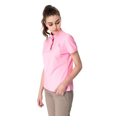【hilltop山頂鳥】女款冷黑抗UV吸濕排汗POLO衫S14FC8-淺粉