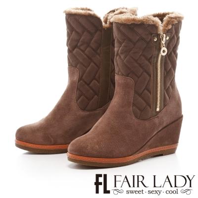 Fair Lady 菱格鋪毛拉鍊2way楔型靴 灰