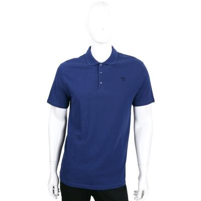 TRUSSARDI 藍色刺繡LOGO短袖POLO衫