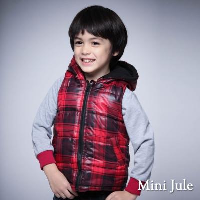 Mini Jule 童裝-鋪棉背心 搖粒絨格紋口袋拉鍊連帽背心(暗紅)