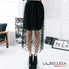 中大尺碼 透明拼貼圓點點假二件長紗裙-La Belleza
