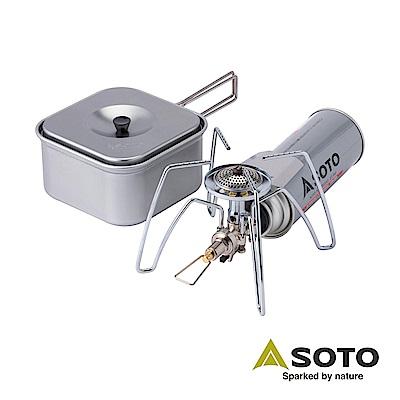 SOTO 輕便型戶外休閒組合(蜘蛛爐+方形鍋) ST-310CS