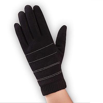 幸福揚邑 防風觸控手套加絨保暖機車手套-螺紋男款-黑