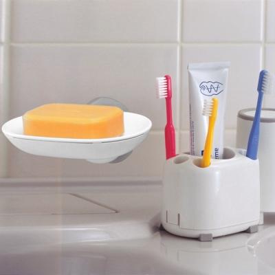 日本LEC可拆洗防滑牙刷架+兩用式吸盤皂盤(特惠組)