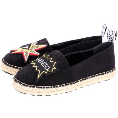 KENZO K-Patch Espadrilles 補丁圖騰草編便鞋(女款/黑色)
