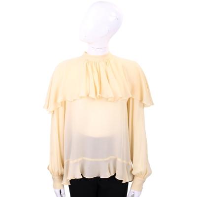PINKO 米黃色雙層荷葉剪裁長袖絲質上衣