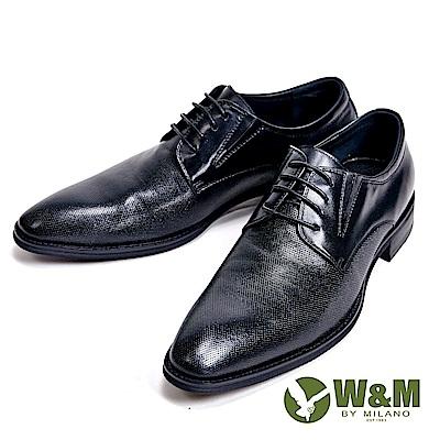 W&M 十字紋光感牛皮革 精緻素面型男皮鞋-黑