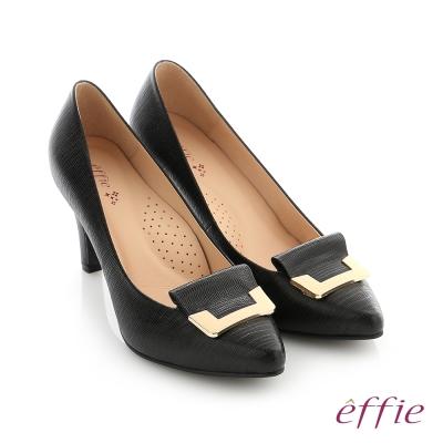 effie 個性美型 簡約飾扣環減壓奈米高跟鞋 黑色