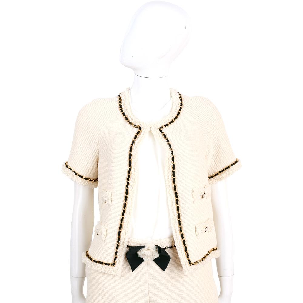 EDWARD ACHOUR PARIS 米色鍊帶襯邊短袖毛呢外套