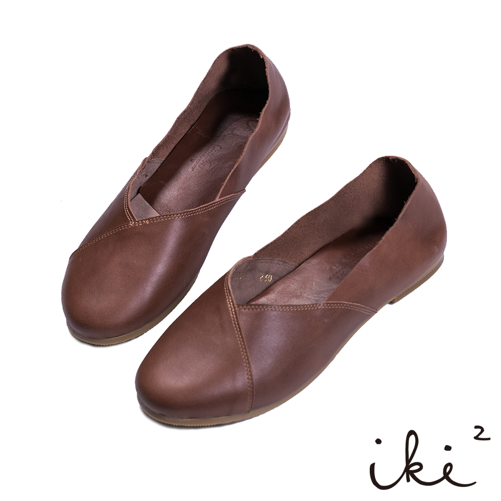 iki2-慢步文青 真皮親膚平底鞋-深咖