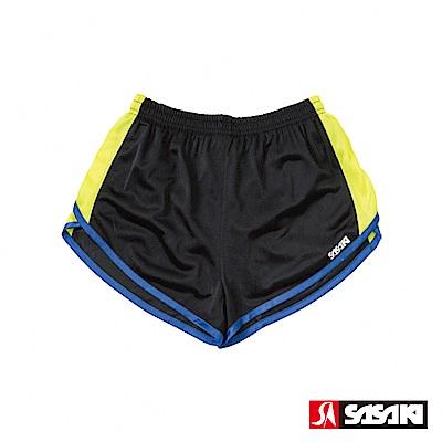 SASAKI 吸濕排汗田徑短褲-女-黑/黃
