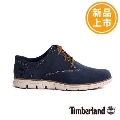 Timberland-男款藍色素面綁帶休閒鞋