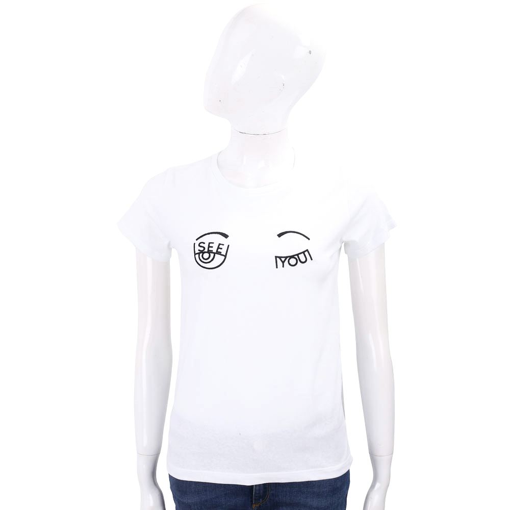 Chiara Ferragni see you 大童版眨眼刺繡白色棉質T恤