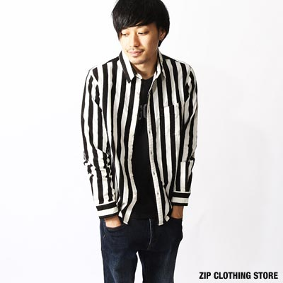 ZIP日本男裝 長袖 直條紋刷毛標準領襯衫