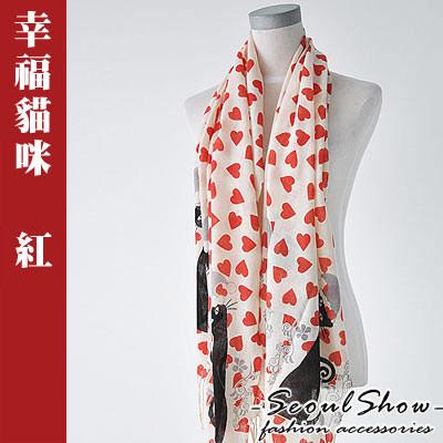 【Seoul Show】韓版高質感  羊毛流蘇圍巾/披肩 – 幸福貓咪 (紅色)