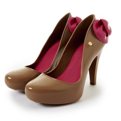 Melissa-美形蝴蝶結亮面高跟鞋-褐-桃紅