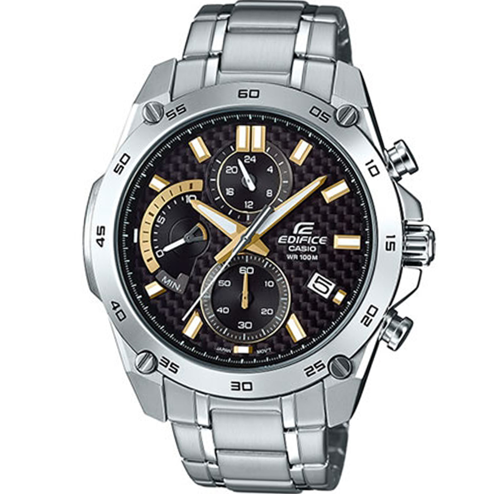 EDIFICE 扇形逆跳計時腕錶(EFR-557CD-1A9)-黑x金/46.7mm