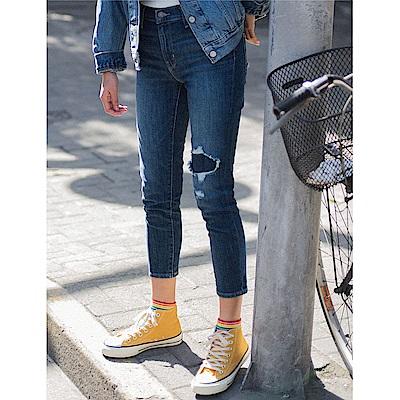 牛仔褲 高腰 721 緊身窄管 彈性布料 刷破 - Levis