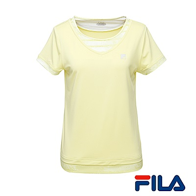 FILA女性吸排/抗UV漸層感T恤(檸檬黃) 5 TER- 1313 -LM