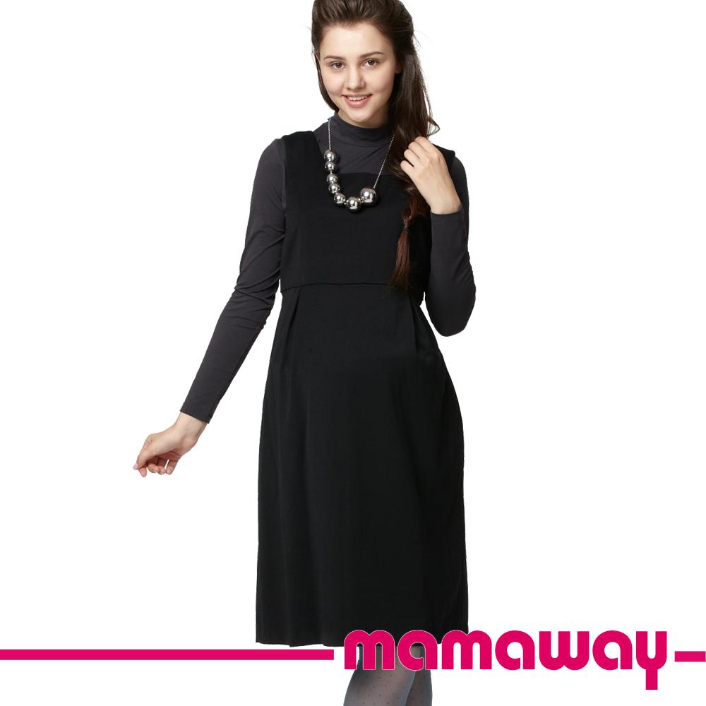 【Mamaway】孕期平織背心洋 (黑色)