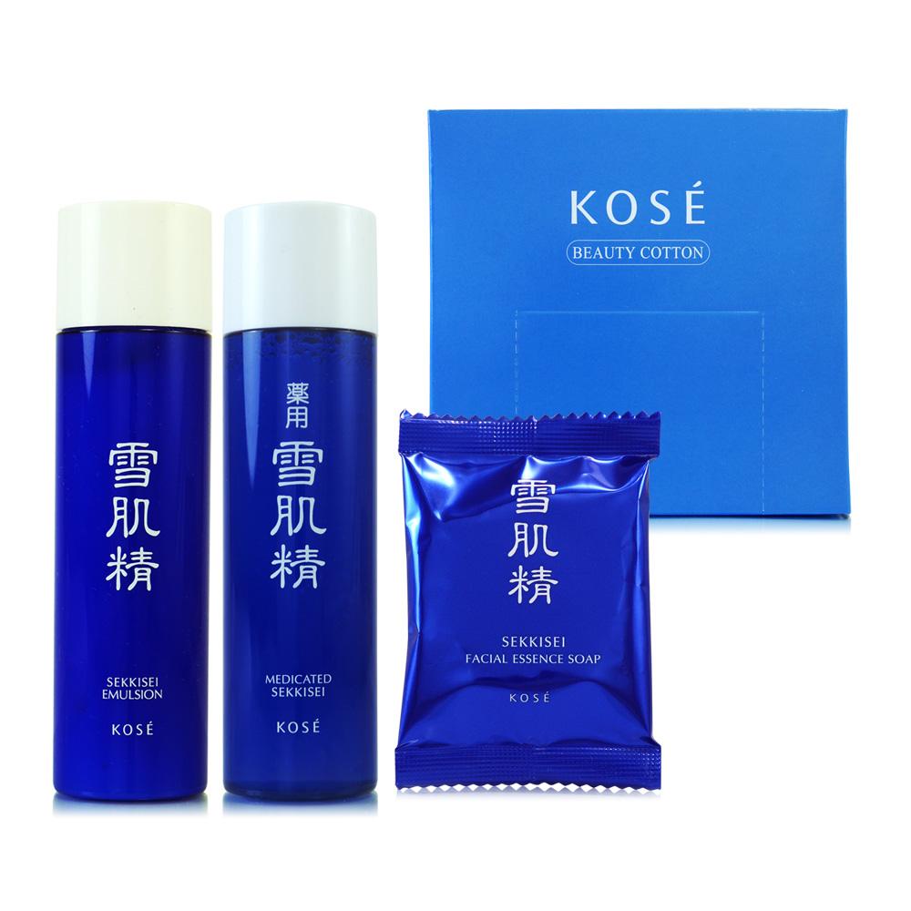 KOSE高絲 雪肌精經典保養三件組(贈高品質化妝棉50片裝)