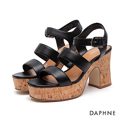 達芙妮DAPHNE 涼鞋-魚骨寬帶繞踝高跟厚底涼鞋-黑