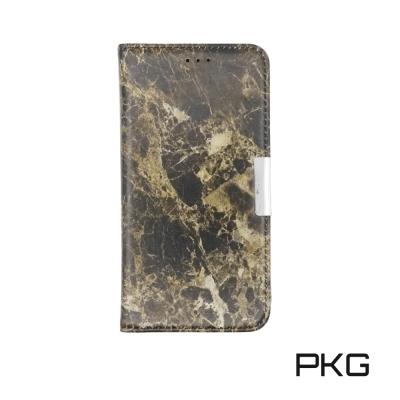 PKG Apple IPhone X側翻式皮套-精選系列-大理石紋-棕紋