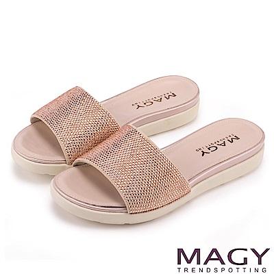 MAGY 耀眼時尚 奢華燙鑽Q彈厚底拖鞋-粉紅