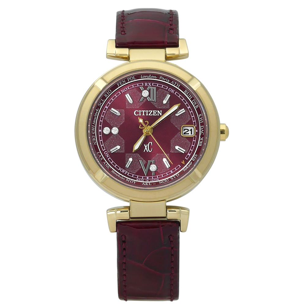 xC 流露靜謐限量電波光動能鱷魚皮手錶(EC1117-02W)-紫x金框 /28mm