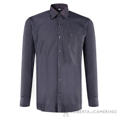 ROBERTA諾貝達 進口素材 台灣製 嚴選穿搭 條紋長袖襯衫 黑色