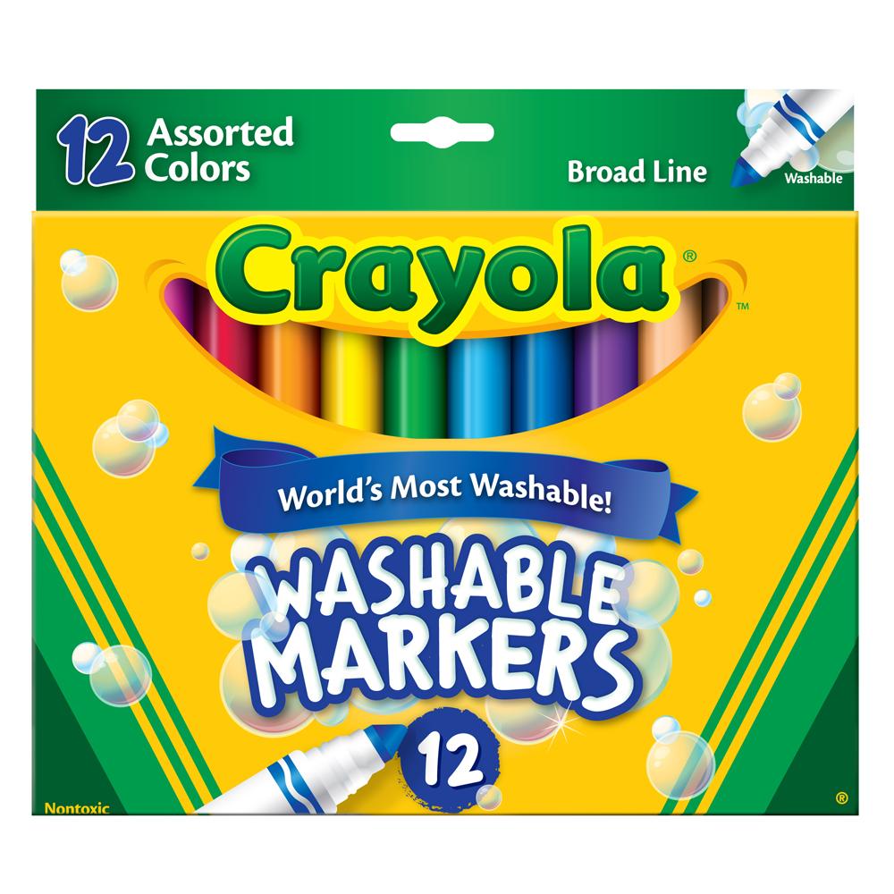 美國crayola 可水洗系列-可水洗12色粗頭彩色筆(3Y+)