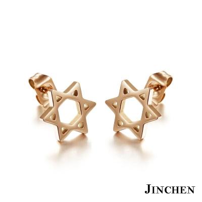 JINCHEN 白鋼六芒星耳環 玫瑰金