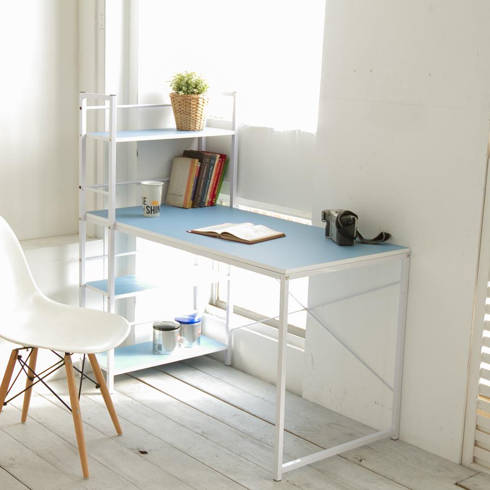 日系暖彩層架式多用途工作書桌/電腦桌 120x52cm(共4色)+送同色主機架