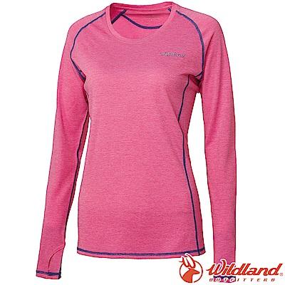 Wildland 荒野  0 A 61611 - 22 蜜粉紅 女圓領雙色抗UV長袖衣