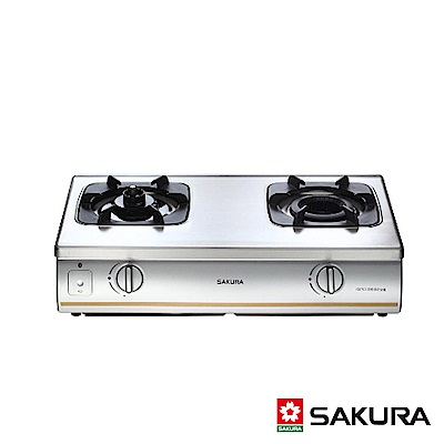 SAKURA櫻花牌 雙內焰防乾燒傳統式二口瓦斯爐 G-5703S