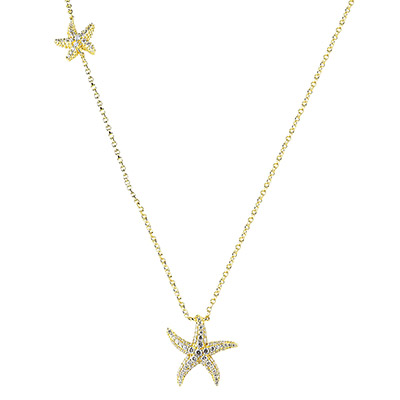 apm MONACO RAMATUELLE系列晶鑽鑲飾雙海星設計純銀項鍊(金)