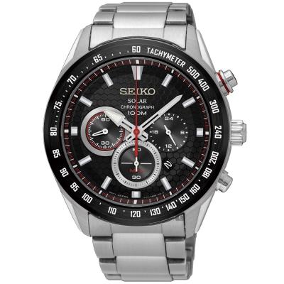 SEIKO精工 Criteria 太陽能計時手錶(SSC579P1)-黑/43mm