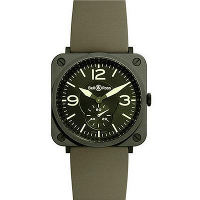 Bell&Ross 超薄系列石英女錶-黑x軍綠/39mm