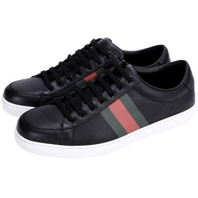 GUCCI 綠紅綠條紋洞洞綁帶休閒鞋(黑色)