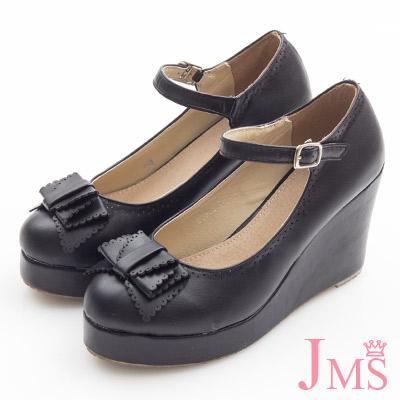 JMS-典雅氣質蝴蝶結楔型娃娃鞋-黑色