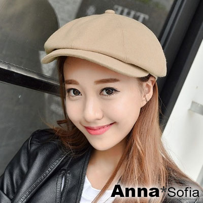 AnnaSofia-時尚街頭-毛料呢報童帽貝蕾帽-杏駝系