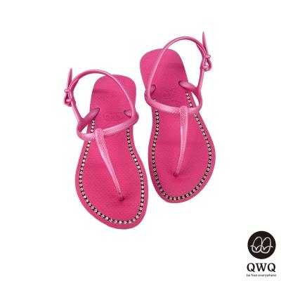 QWQ夾拖的創意(女) -璀璨面鑽涼鞋-俏麗粉