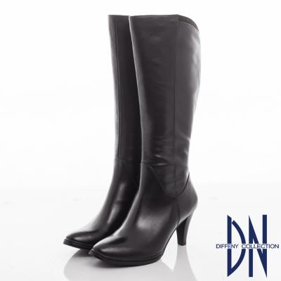 DN 氣質優雅 水鑽點綴素面牛皮長靴-黑